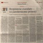 Mandaty za pandemiczne protesty nadal bezprawne